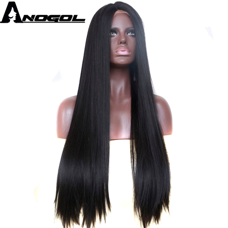 Anogol 1B Black High Temperature Fiber Hair Wigs Middle Part Long Straight Synthetic Lace Front Wig for African American Women