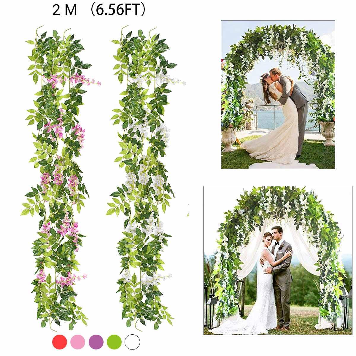 2m glicina flores artificiales, guirnalda de enredadera, decoración del arco de la boda, plantas falsas, follaje de ratán, flores de imitación, pared de hiedra