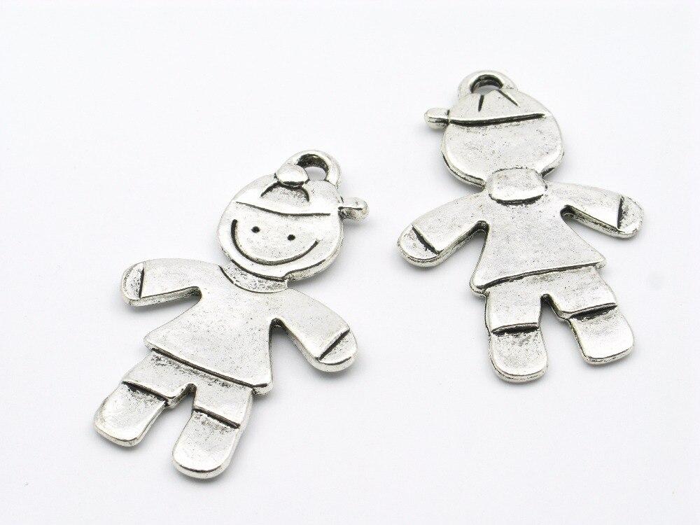 Collar pequeño, colgante, bonito Niño, son, plata antigua plana, d-3-46 Zamak