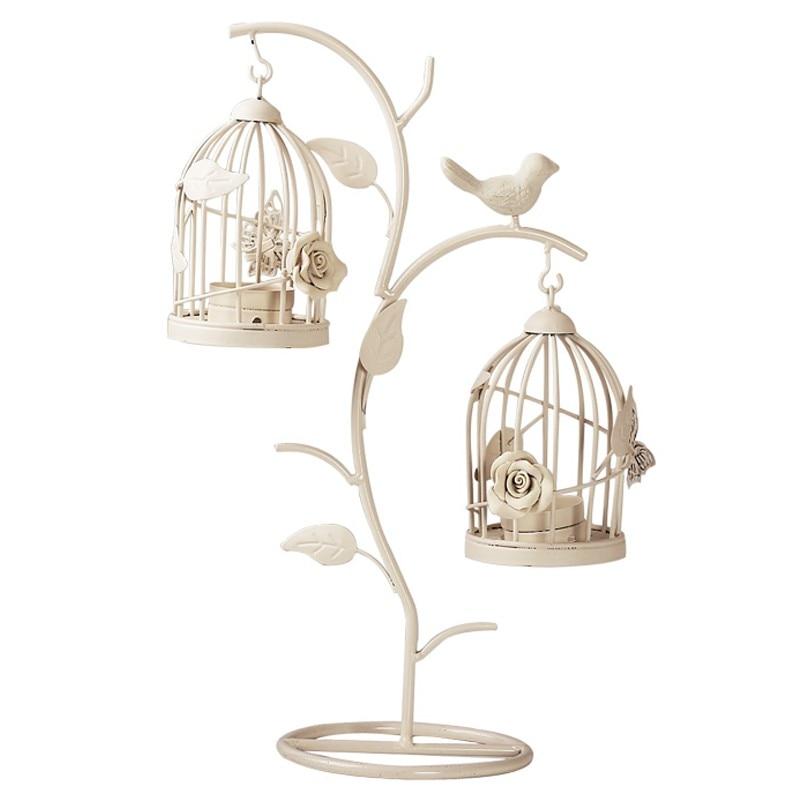 Retro Europea rama pájaro jaula   Hierro creativo romántico vela de boda centros de mesa decoraciones para el hogar