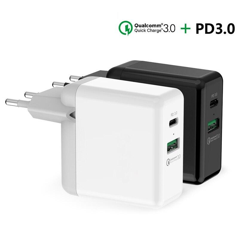 Cargador USB tipo C PD potencia portátil PD3.0 QC3.0 cargador de pared para Nintendo Swith Huawei Mate 20 9 P10 P20 P30 Pro