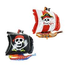 1 unidad de globo de papel de aluminio de Barco Pirata, globo de corsario irregular, globos de fiesta de cumpleaños, juguete para niños, decoración para fiesta de Halloween, Calavera