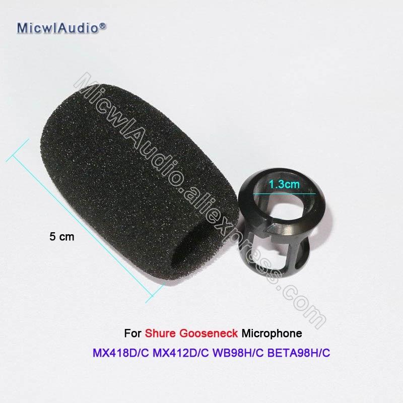 20 X Black Sponge Snap-fit Form Windscreens For Shure MX418D/C MX412D/C WB98H/C BETA98H/C Instrument Gooseneck Microphone enlarge