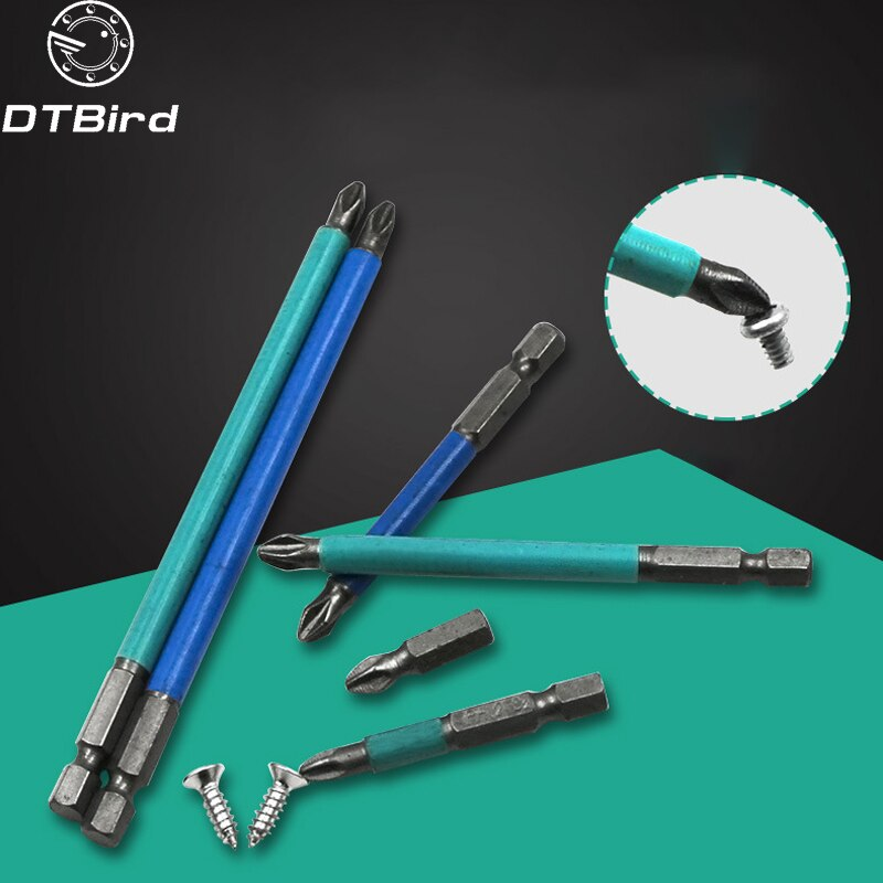 1PCS S2 Magnetic Anti-skid Hex Shank Cross Head Screwdriver Batch Nozzle Head PH2*25mm PH2*50mm Hand Tools Set