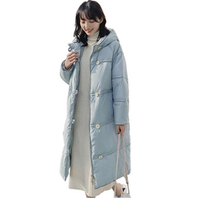 الأبيض بطة أسفل زر معطف دافئ أسفل سترة الإناث الرجعية فضفاضة طويلة الشتاء مقنعين سترة مكتب سيدة ضئيلة معطف امرأة سميكة T330