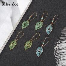 Miss Zoe Bronze Hollow Leaf Beads Drop Earrings Charm Danglers Bohemia Ethnic Vintage BOHO Holiday Ear Jewelry Gift for Women