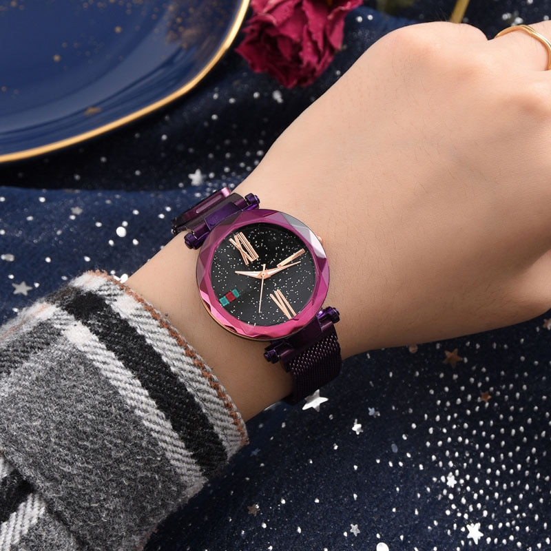 WJ-8359 Wal-joy Brand Women Luxury Watches Elegant Magnet Buckle Purple Ladies Wristwatch Starry Sky Roman Numeral Female Watch