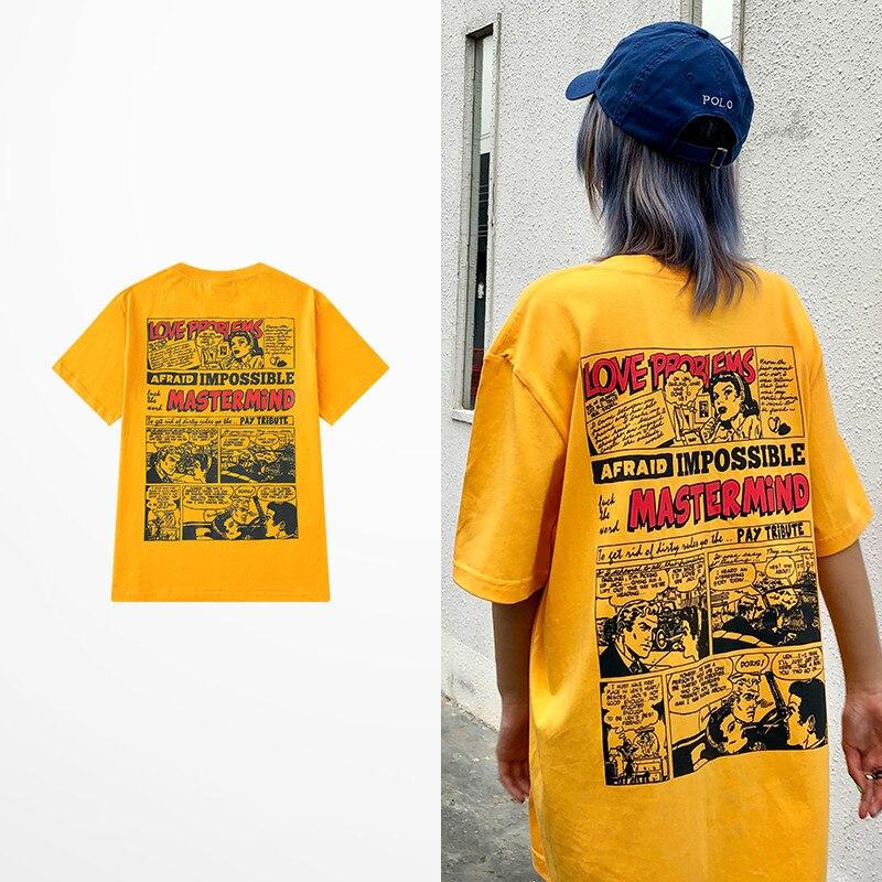 Marée marque mode dessin animé Illustration imprimer T-shirts hommes 100% coton été t-shirt mâle jaune haut harajuku t-shirt scalextric