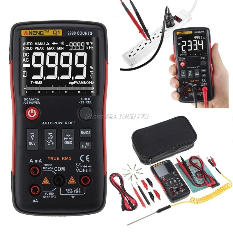 Q1 True-RMS multímetro Digital Auto botón 9999 recuentos barra analógica gráfico AC/DC voltaje amperímetro corriente ohmios Transistor Tester XJ36