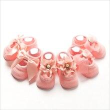 3 Pairs/Set cotton Baby Socks For Girl Bebe Toddler Newborn Sock Infant Anti Slip Lace Flower Bow Socks Glue Party Birthday Sock
