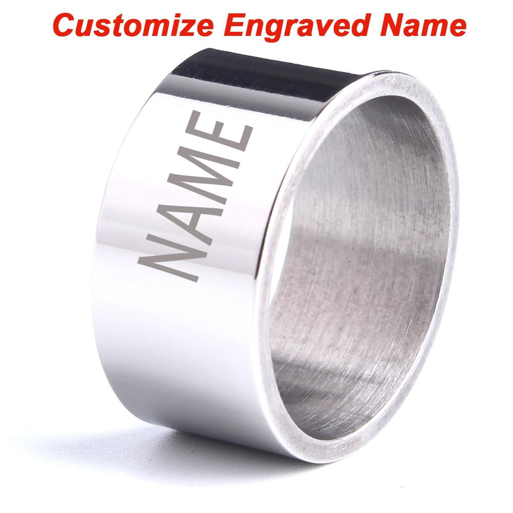 Grabado personalizado nombre anillos para los hombres láser anillos con letras superficie lisa 316L de acero inoxidable anillo de mujer, joyería al por mayor