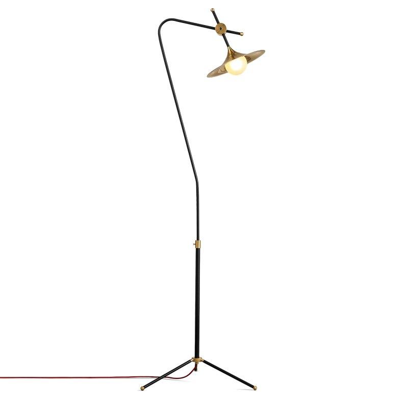 Moderne Simple lampadaire 1 tête G9 plaqué or luminaire salon étude chevet lampes sur pied lait blanc verre abat-jour