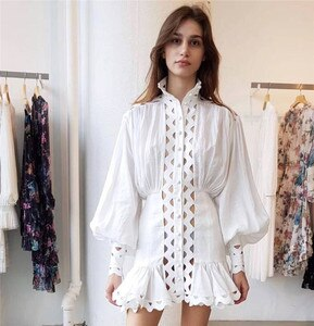 white hollow out  turtleneck long sleeve dress 2019 New Women Vestidos Celebrity evening party bodycon bandage dresses