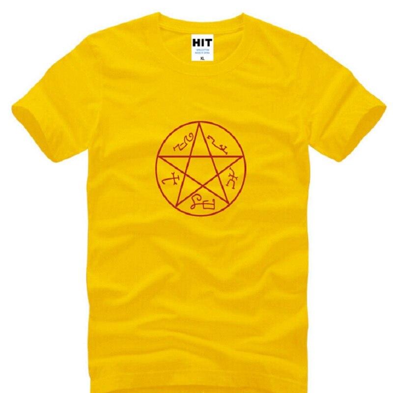 Camisa de algodão de manga curta t camisa de t dos homens do sobrenatural do pentagrama da estrela do círculo do pentagrama mágico pagão da bruxa wicca