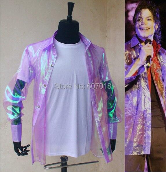 Raro PUNK Rock informal clásico MJ iridiscente púrpura parpadeante Botón de organza, traje de it shirt Michael Jackson