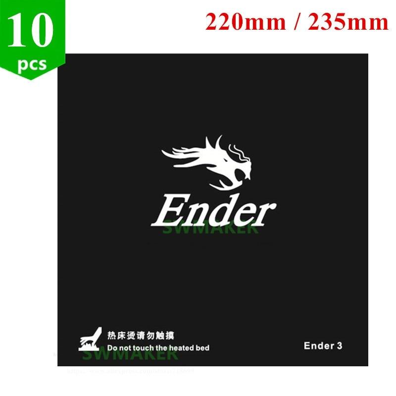 10 قطع 220 ملليمتر/235 ملليمتر الأسود ساخنة السرير ل Creality ENDER-3 ENDER-3S 3D طابعة ملصقا بناء ورقة بناء لوحة الشريط مع 3 متر عودة