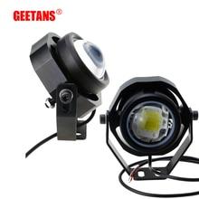 GEETANS phare anti-brouillard moto 10W 12V 24V   DRL pour camion moto hors route, fort, faible, clignotant, 3 modes de commutation 2 pièces