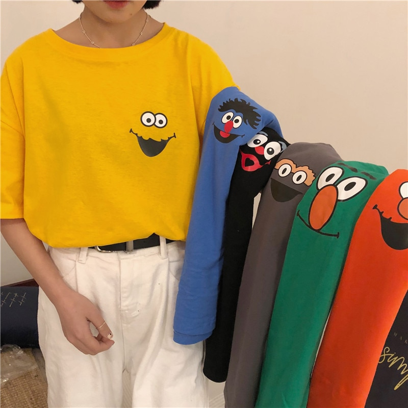 Summer tops Japanese Harajuku M-2XL large size fun cartoon cotton women short-sleeved tops Korea new chic casual fashion T-shirt