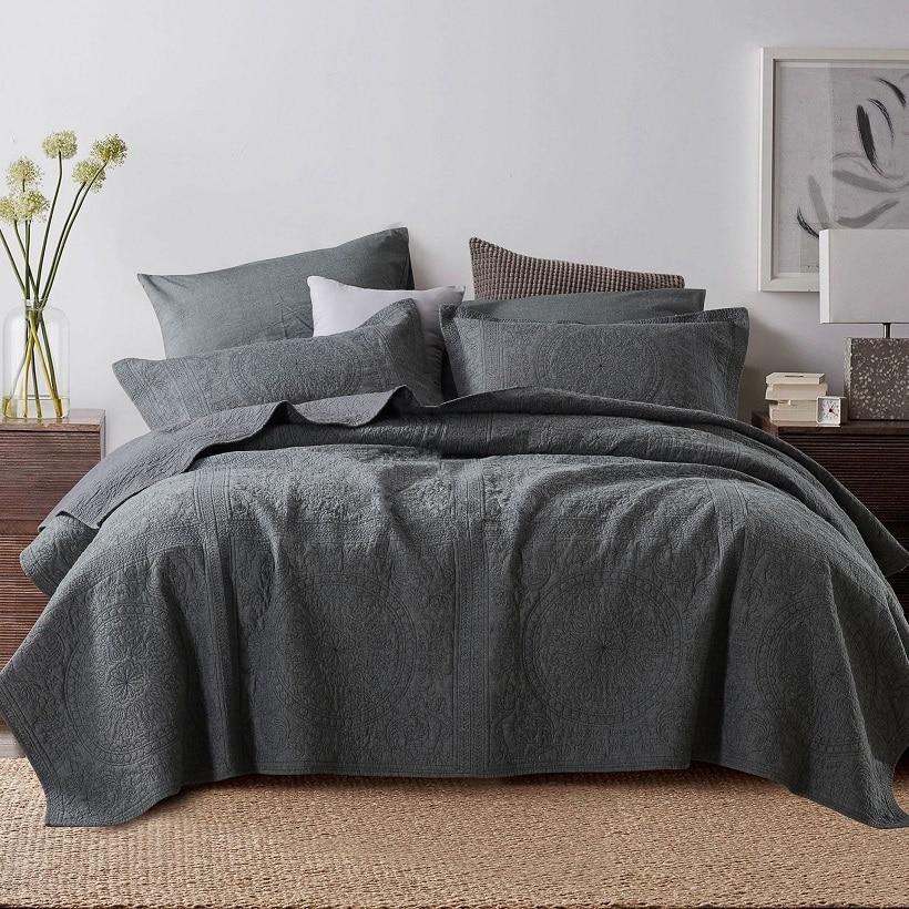 Couvre-lit en coton de qualité CHAUSUB   Ensemble couette 3 pièces, couvre-lit brodé, housse de lit matelassée, taie doreiller, couverture dété reine pour roi