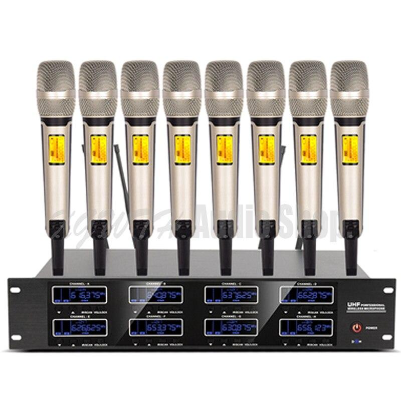 Pro 800 Canal UHF Freqüência Ajustável 8 Ouro Handheld Sistema de Microfone Sem Fio para o Estágio KTV Karaoke Microfone Sem Fio Dinâmico