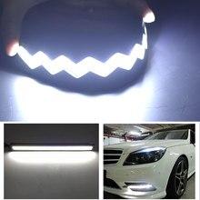 Lampe décorative pour voiture 2 pièces   Bleu blanc, étanche, pour la course en jour, éclairage de décor automobile, bande de 25CM, pliable,