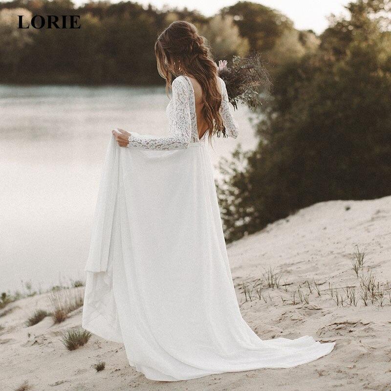 Vestido de novia LORIE Beach de manga larga, vestido de novia bohemio con escote en V y espalda abierta, vestido de novia de gasa con encaje de princesa 2019, vestido de novia de gasa