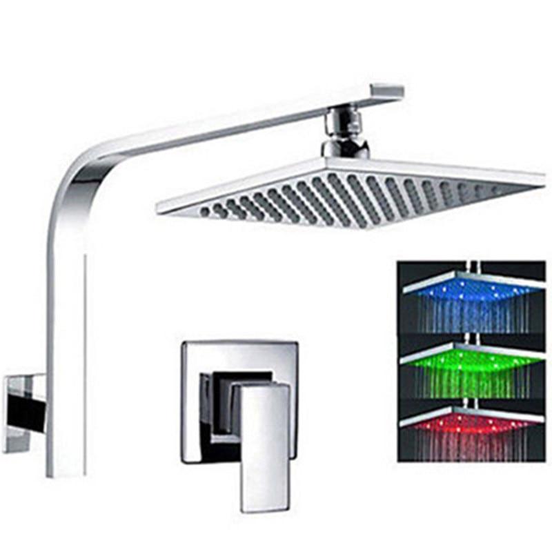 Ducha de lluvia de Baño Luz LED para ducha Color cambiante LED Chorme 8 pulgadas ducha grifo Pommeau ducha filtro
