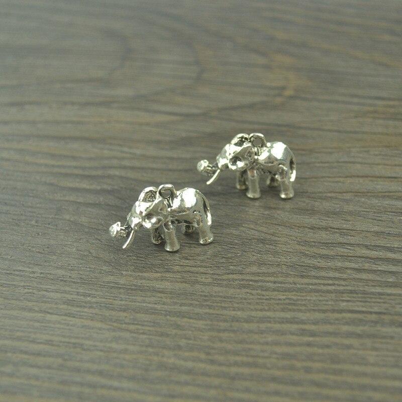 8 Uds vintage plata plateada del Tíbet colgante de elefantes colgantes de metal para fabricación de joyería DIY hecho a mano artesanía 22*15mm 4115C