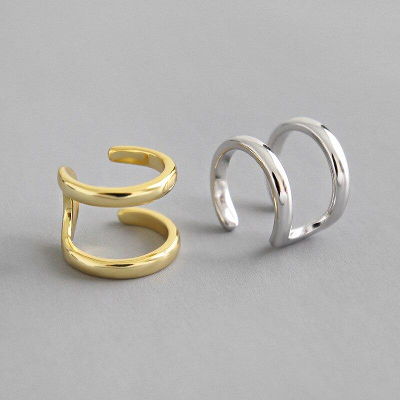 Real 925 prata esterlina linha dupla clip em brincos para mulheres earcuff, brincos clipe de cor de ouro sem piercing jóias