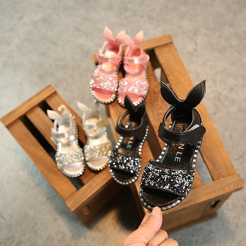 Summer Children Kids Cute Sandals Shoes Girls Princess Soft beach Sandals Fashion Non-slip PU Leather Toddler Sequins Shoes