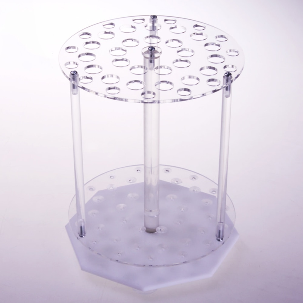 1 unidad de vidrio orgánico de laboratorio de rotación redonda 39 agujeros pipeta rack tubo PMMA titular tranfer pipeta soporte