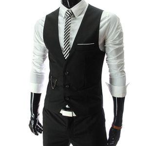2021New Arrival Dress Vests For Men Slim Fit Mens Suit Vest Male Waistcoat Gilet Homme Casual Sleeveless Formal Business Jacket