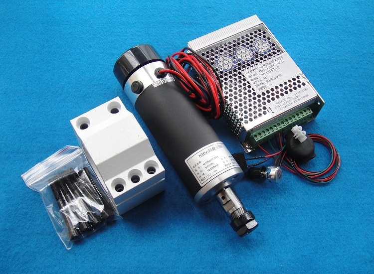 Motor de husillo refrigerado por aire de 57mm ER16-110V-600W máquina de grabado dc husillo alto par toma potencia y soporte
