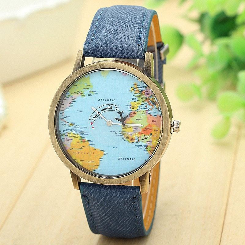Relogio Feminino gran oferta Global de mapa de viaje por avión tela de mezclilla reloj de pulsera mujeres hombres relojes de vestir 7 colores más vendidos reloj