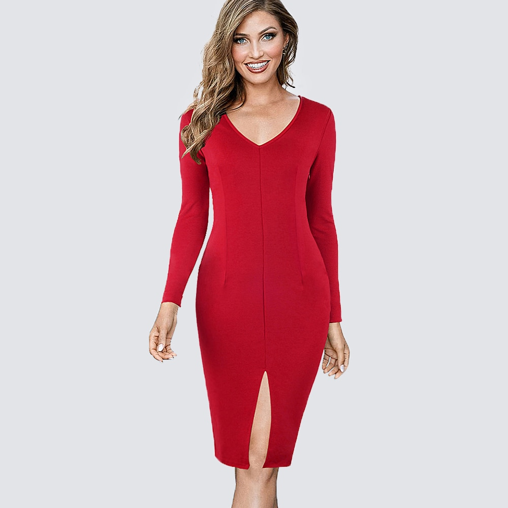 Women Casual Formal Wear To Work Office Business Split Pencil Dress Elegant Long Sleeve Sheath Fitted Bodycon Lady Dress 1H826
