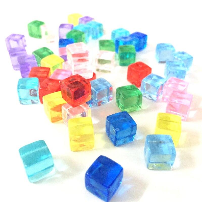 50 teile/satz 8mm Transparent Platz Ecke Bunte Kristall Würfel Schach Stück Transparente Rechten Winkel Sieb Für Puzzle-Spiel