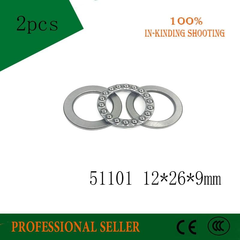 Cojinete de empuje 51101 12x26x9mm (2 piezas) rodamientos de bolas de empuje 51101 Axial 8101 12*26*9mm envío gratis