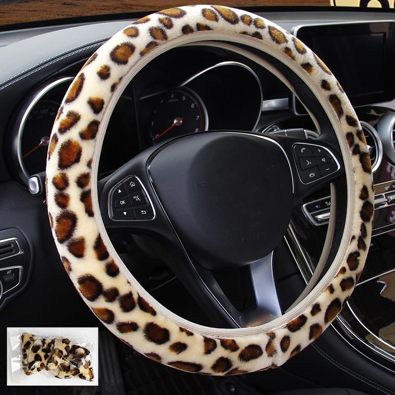 Cubierta de volante de leopardo, sección elástica de felpa estampada, cubierta trenzada para volante de coche, accesorios antideslizantes suaves para coche DIY