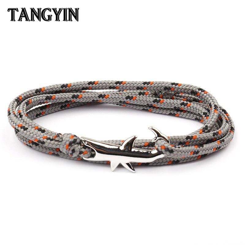 ¡Oferta! Brazaletes vikingo opcionales de 18 colores para hombre y mujer, pulsera de cuerda multicapa de tiburón negro, joyería para hombre y mujer