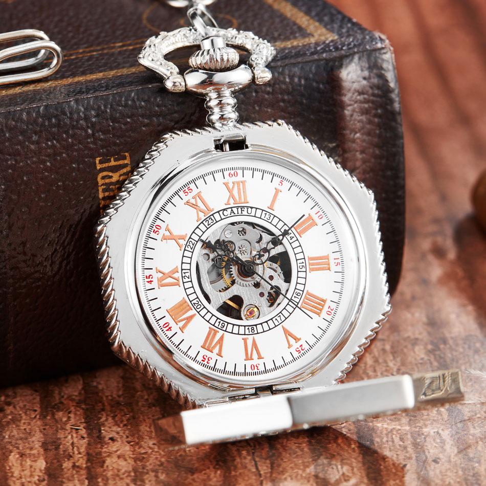 Steampunk Hollow Mechanical Pocket Watches Fashion Luxury Brand Necklace Fob Watch Chain Silver Men Women Clock Relogio De Bolso