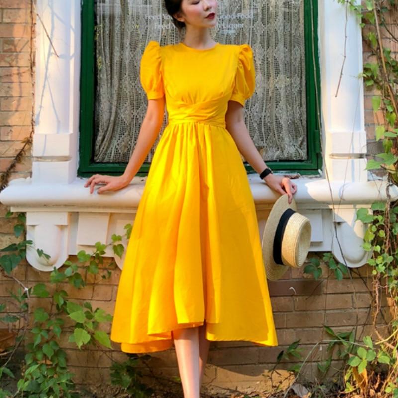 Summer Vintage Women Tutu Dreses Puff Sleeve Woman Short Sleeve Big Swing Dresses Lady Puff Sleeve Lace Up Cotton Dresses