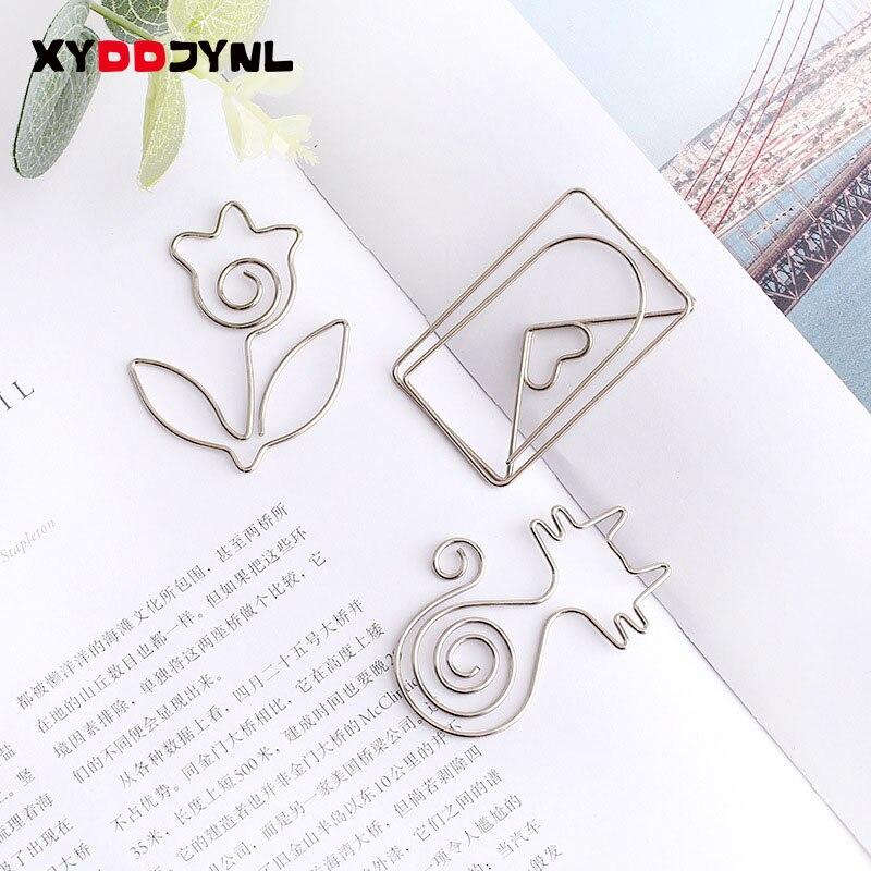 1 pçs metal bookmark cartoon animal paperclip forma criativo livro titular clipe de memorando de aço inoxidável pasta mensagem
