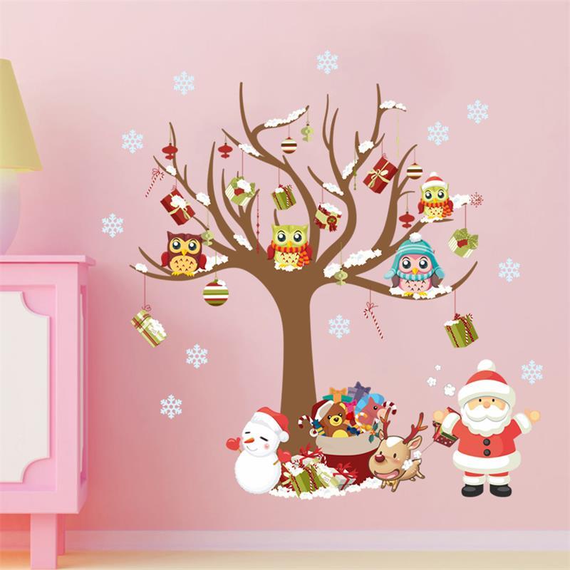 Dibujos Animados búho en el árbol Santa Claus pegatinas pared copos de nieve para niños habitaciones Pvc Interior pared calcomanías Navidad arte mural