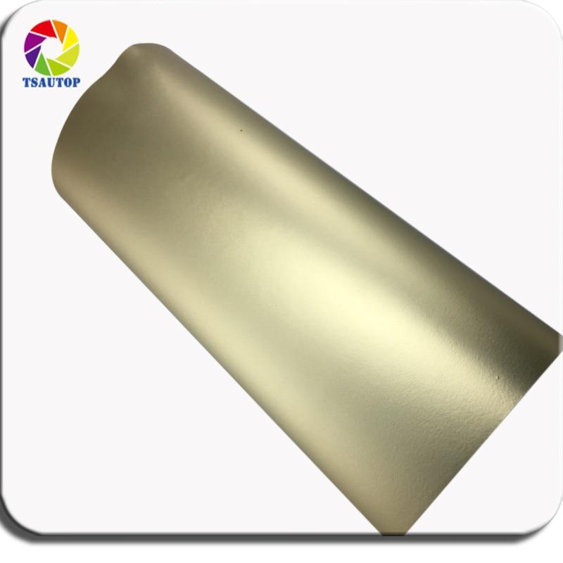 TSAUTOP Premium 1,52 m de ancho mate cromado de vinilo envolver color mate champán dorado para envolver el coche burbujas libres de aire