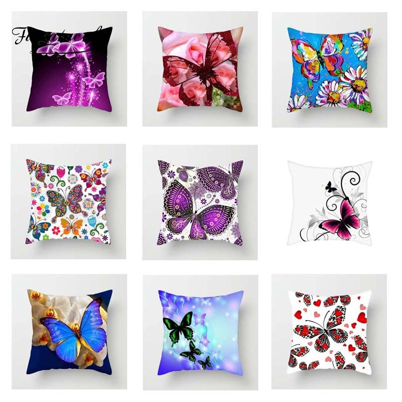 Разноцветная подушка в виде бабочки Fuwatacchi, милая мягкая наволочка для подушки, декоративная наволочка для дивана