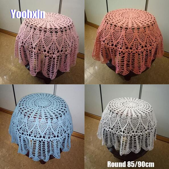 85/90cm Modern Handmade crochet white table cloth cover dining lace cotton round coffee tea tablecloth Christmas wedding decor