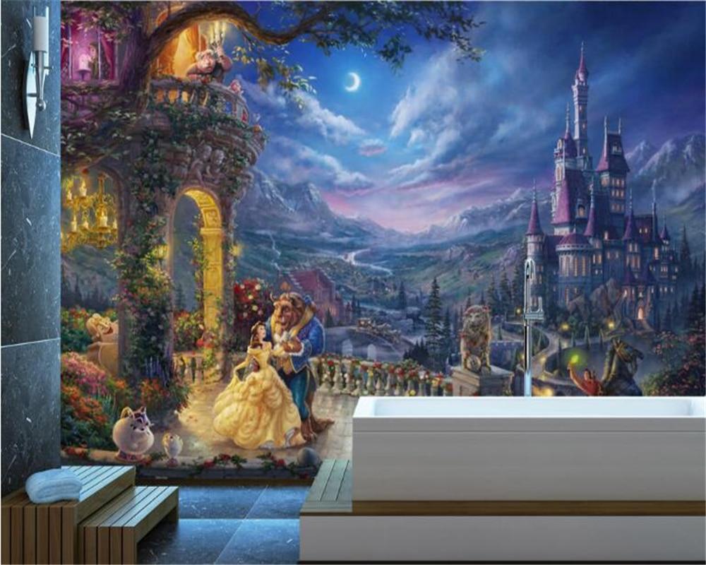 beibehang Custom wall mural fashion European retro fantasy cartoon castle wallpaper princess background papers home decor