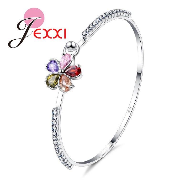 Flores Shinning Colorido CZ Cristal Inlay Jóias Presente 925 Prata Pulseiras & Bangle Em Torno de Charme Strass