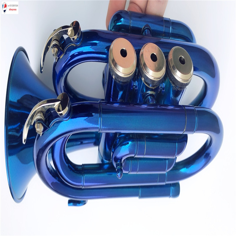 Custom Letter Pocket Trumpet Blue Band Student Beginner Starter Gift Intermediate Custom image enlarge