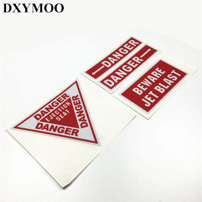 4 Uds. Pegatinas reflectantes de advertencia de peligro para coche, etiquetas de vinilo de 3M